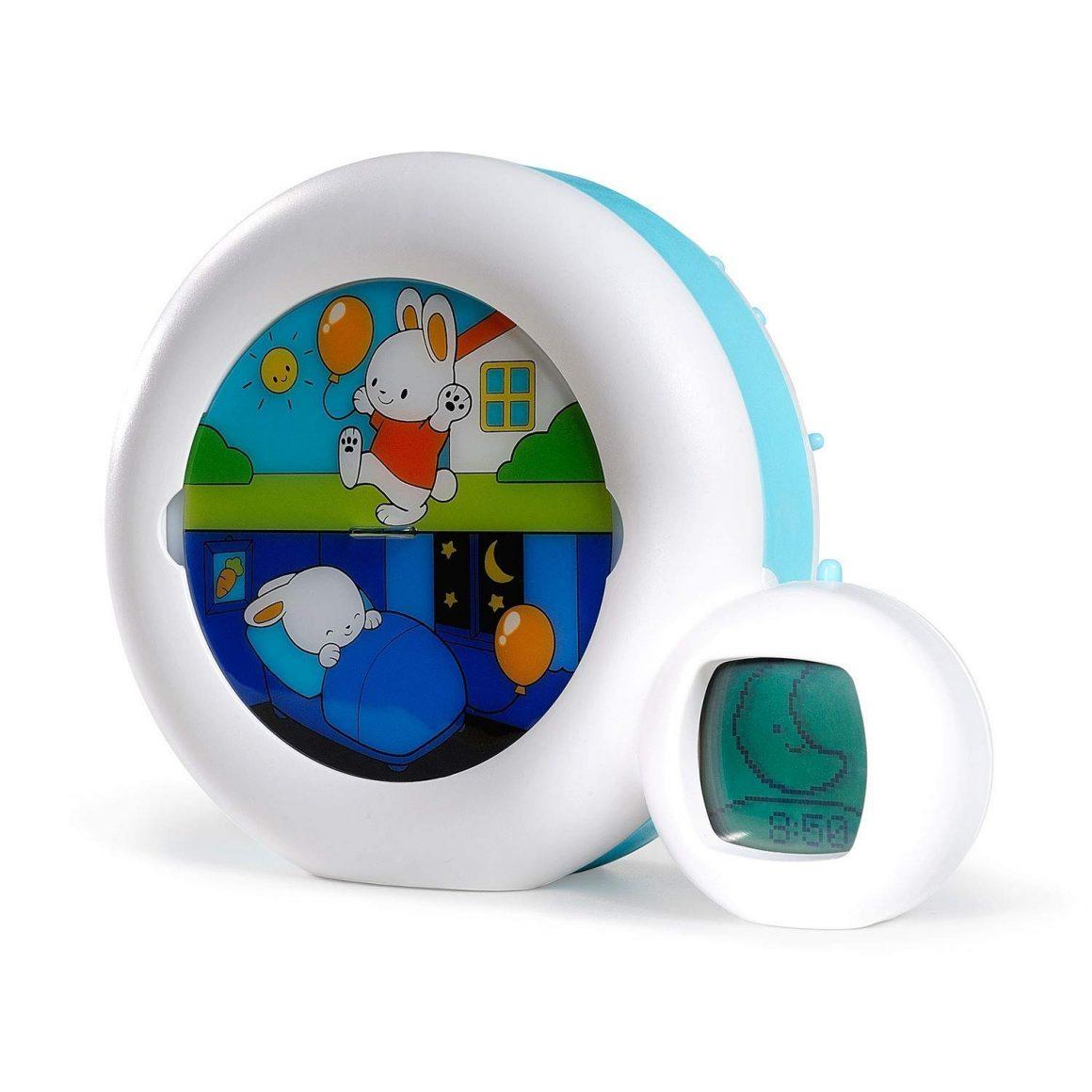 Claessens' Kid - Moon 3 en 1 veilleuse, indicateur & réveil - Reveil Musical Enfant Educatif Jour Nuit Lumineux - Blanc