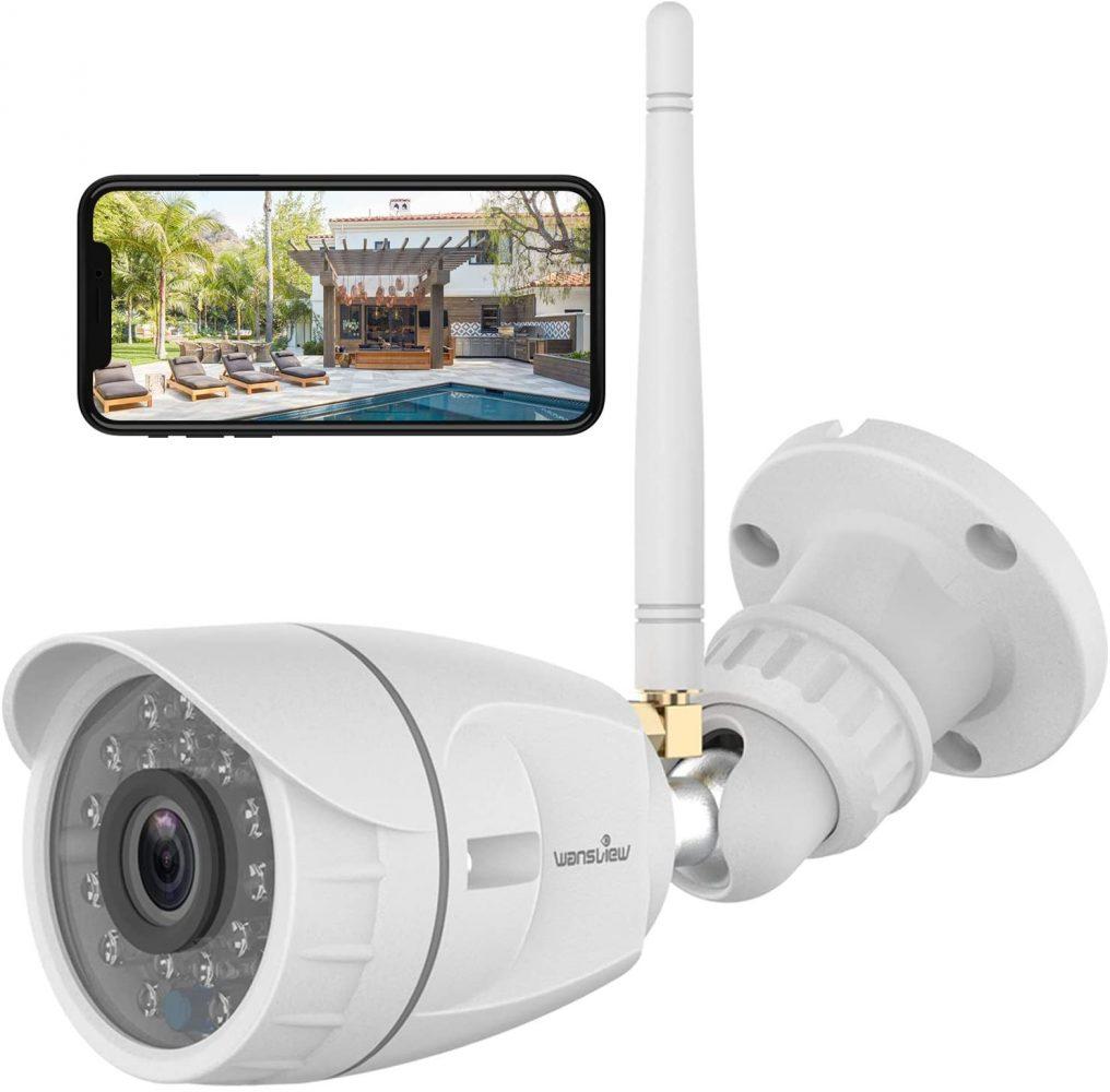 Caméra de Surveillance WiFi Wansview 1080P Caméra IP Extérieure Étanche avec Détection de Mouvement